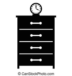 Dresser with a clock simple icon