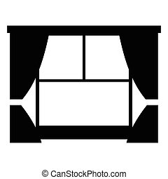 Window with curtains simple icon isolated on white...