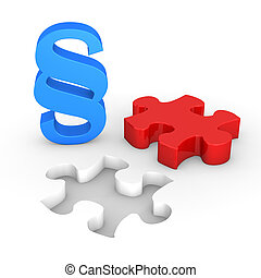 Paragraph Red Puzzle - Red puzzle piece with blue paragraph...