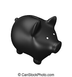 Black Piggy Bank - Black piggy bank on the white background....