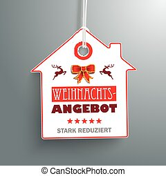 House Christmas Price Sticker - German text...