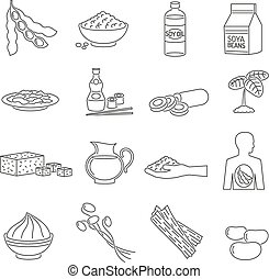 Soy food line set - Soy food line icons set with healthy...