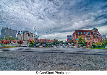 greenville city south carolina skyline and downtown area