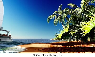 tropical paradise at sunset - tropical paradise in the...