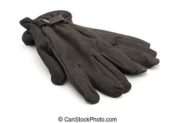 Brown leather gloves on white background