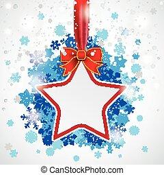 Star Red Ribbon Blue Snowflakes Bokeh