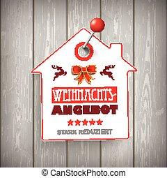 Weihnachten House Price Sticker Wood Pin - German text...