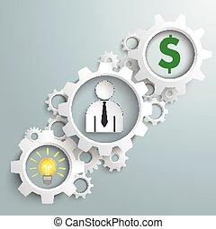 hombre de negocios, blanco, dólar, engranajes,  idea