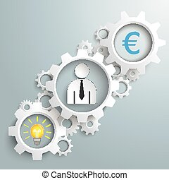 idea, hombre de negocios, blanco, engranajes,  Euro