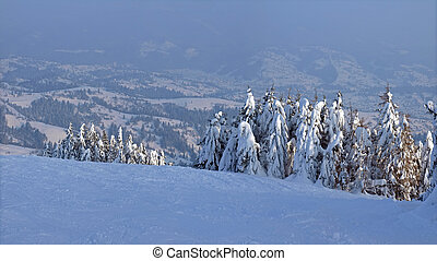 Winter mountain landscape - View from the snow covered...