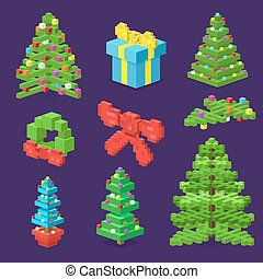 Christmas deoration symbold 3d isometric flat icons set....