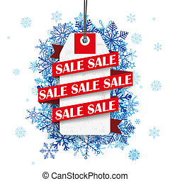 Sale Ribbon Price Sticker Blue Snowflakes - Price sticker...