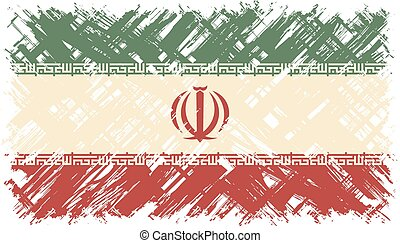 Iranian grunge flag. Vector illustration. Grunge effect can...