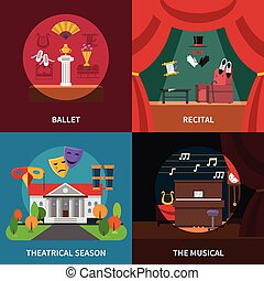 Theatre Concept Icons Set - Theatre concept icons set with...