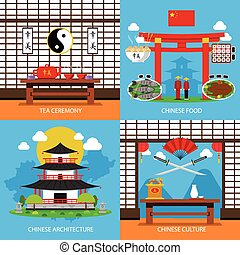 Chinese Concept Icons Set - Chinese concept icons set with...