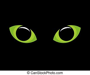 Green cat eyes - green cat eyes in darkness. Vector...