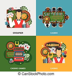 Casino Concept Icons Set - Casino concept icons set with...