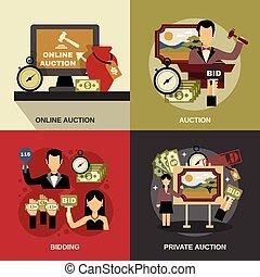 Auction Concept Icons Set - Auction concept icons set with...