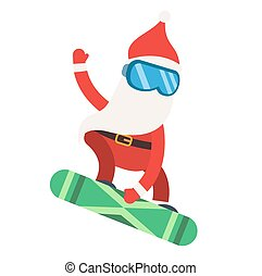 Cartoon extreme Santa snowboarder winter sport illustration