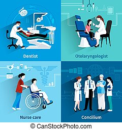 Medical specialists 4 flat icons square - Medical...