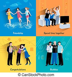 Friends buddies 4 flat icons square - Friends buddies...