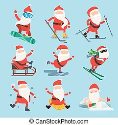 Cartoon extreme Santa winter sport illustration