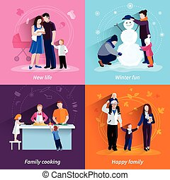 Parenthood 4 flat icons square set - Happy family 4 flat...