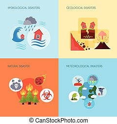 Natural disaster 4 flat icons square - Floods volcanic...
