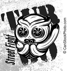 illustration of street fight titanium bulldog with turbo -...