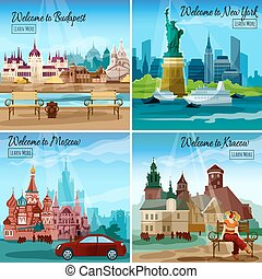 Famous Cities Set - Famous cities design concept set with...