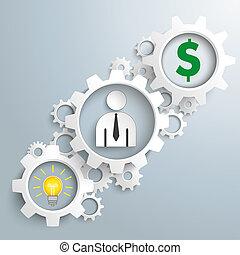blanco, engranajes, idea, hombre de negocios, dólar,