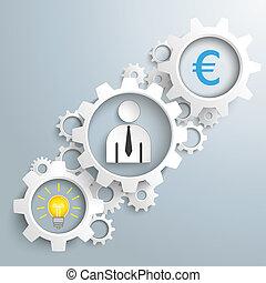 blanco, engranajes, idea, hombre de negocios, Euro,