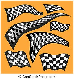 Checkered Racing Flags - vector set on yellow