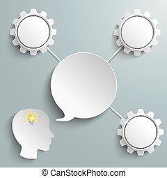 Head Speech Bubble 3 Connected Gears - Paper speech bubble...