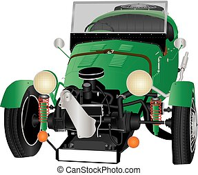 Three Wheeled Car - A Vintage Green Three Wheeled Car...