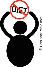 illustration vector fat man icon with the sign of stop Diet over his head, fatten concept.