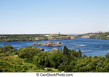 Dnieper River with the islands in Zaporozhye