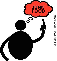 illustration vector fat man icon using gun shooting word JUNK FOOD in thinking balloon, diet concept.