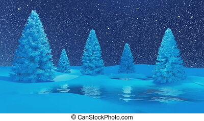 Winter night scenery firs snowfall - Decorative winter...