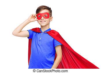 Menino, em, vermelho, Super, herói, capa, e, máscara,