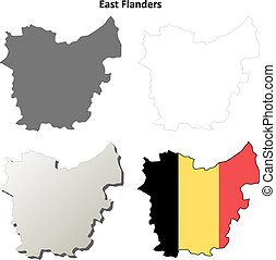 East Flanders outline map set - Belgian version