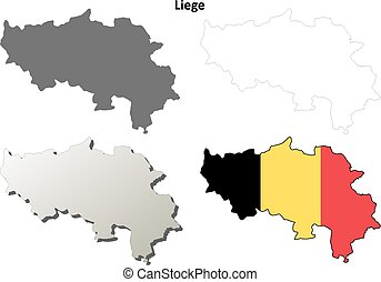 Liege outline map set - Belgian version