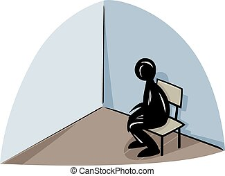 lonely man illustration - Lonely Sad Man on a Chair Concept...