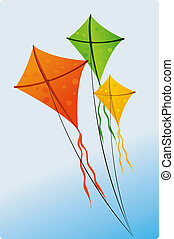 kites - Illustration of colourful kites