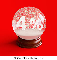 Snow globe with 4 percent discount title inside isolated on...