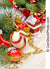 Christmas decoration, pine twig, christmas baubles, snow