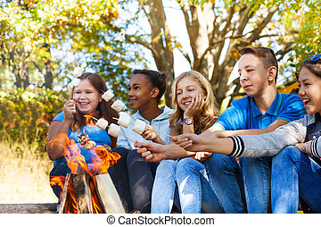 Group of teens hold marshmallow sticks near flame - Group of...