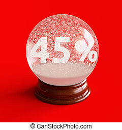 Snow globe with 45 percent discount title inside isolated on...