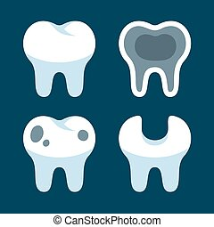 Teeth with Different Dental Problems Icons Set. Vector...