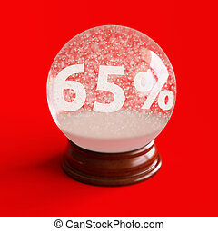 Snow globe with 65 percent discount title inside isolated on...